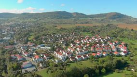 Germany village and vineyards aerial view stock video footage