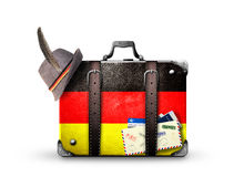 Germany. Vintage suitcase with German flag stock photos
