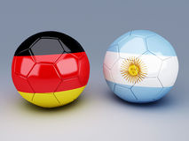 Germany vs Argentina soccer ball concept Royalty Free Stock Image