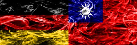 Germany vs Taiwan smoke flags placed side by side. German and Ta. Iwan flag together royalty free illustration