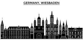 Germany, Wiesbaden architecture vector city skyline, travel cityscape with landmarks, buildings, isolated sights on Royalty Free Stock Image