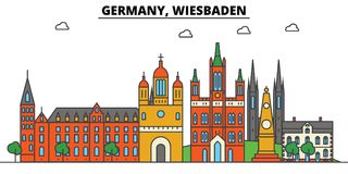 Germany, Wiesbaden. City skyline architecture . Editable Royalty Free Stock Photography