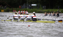 Germany wins again. Bosbaan, Amsterdam, Netherlands - 23 July 2011:  Germany's Women's Quadruple Sculls about to win gold medal and set a new world record (6:22 Royalty Free Stock Image