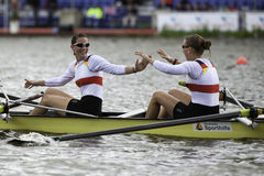 Germany wins women's four. Bosbaan, Amsterdam, Netherlands - 23 July 2011:  Germany's Women's Four about to become world champion under 23 in a world record time Stock Photos