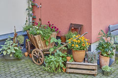 Germany, wooden wagon full of flowers Stock Image