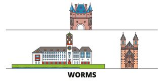 Free Germany, Worms Flat Landmarks Vector Illustration. Germany, Worms Line City With Famous Travel Sights, Skyline, Design. Royalty Free Stock Images - 141654919