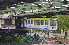 Germany, Wuppertal. Wuppertal, North Rhine-Westphalia, Germany - May 27th 2011: Public overhead train in station, usual mode of transport in the city royalty free stock photos