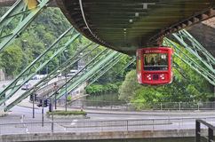 Germany, Wuppertal. Wuppertal, North Rhine-Westphalia, Germany - May 27th 2011: Unidentified people in public overhead train, usual mode of transport in the city stock image