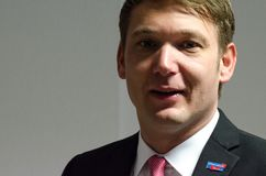 GERMANY, ZEITZ - DECEMBER 09, 2017: Andre Poggenburg at the reopening of the AfD constituency office Zeitz Royalty Free Stock Photo