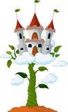 Germe di soia con il castello nel fumetto delle nuvole Fotografie Stock Libere da Diritti