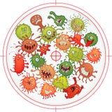 Germes et bactéries sous la menace des armes Photographie stock