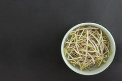 Germi di soia della soia in ciotola verde Fotografie Stock Libere da Diritti