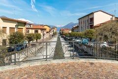 Germignaga jest powabnym wioską lokalizować przy usta Tresa rzeka blisko Luino w prowinci Varese, Włochy Obraz Stock