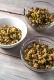 Germinated beans in glass and ceramic bowls diagonal Royalty Free Stock Images