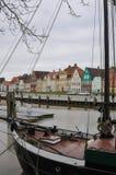 germnay的Glueckstadt,有老船的老历史的港口 免版税库存照片