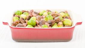 Germogli, castagne & bacon Fotografia Stock