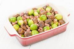 Germogli, castagne & bacon Fotografia Stock Libera da Diritti