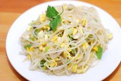 Germogli di fagiolo cinesi dell'alimento Fotografia Stock