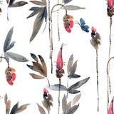 Germogli di fiore dell'acquerello Fotografia Stock Libera da Diritti