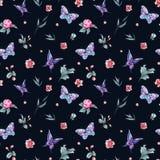 Germogli e farfalle senza cuciture del modello dell'acquerello illustrazione di stock