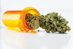 Germogli medici della cannabis della marijuana che si rovesciano dal Bot di prescrizione immagini stock