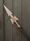 Germoglio marcato del metallo con l'aquila contro le plance di legno Immagine Stock