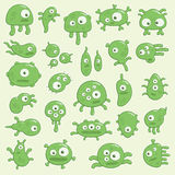 Germs. Collection of cartoon germs and virus Stock Image