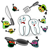 Germs attacking teeth Stock Images