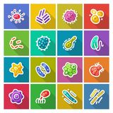 Germs and Bacteria Flat Icons Set Stock Photography