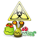 Germs and biohazard sign. Group of cartoon glossy germs near yellow sign of biohazard Stock Photography