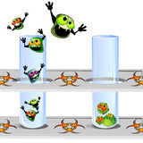 Germs escaping from proof. Two laboratory proofs in stand and escaping germs Stock Images