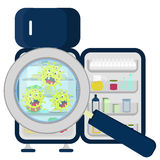 Germs on refrigerator full Royalty Free Stock Photo