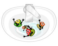 Germs in sink. Ugly germs are in sink washing out with water vector illustration