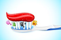 Germs in Tooth Brush. Illustration of germs peeping from bristle of tooth brush Royalty Free Stock Photography
