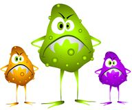 Germs Viruses Bacteria 2. A clip art cartoon illustration of 3 nasty looking germs, viruses or bacteria with evil looking faces and colorful blobs and bumps Royalty Free Stock Images
