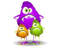 Germs Viruses Bacteria 3. A clip art cartoon illustration of 3 nasty looking germs, viruses or bacteria with evil looking faces and colorful blobs and bumps Stock Photos