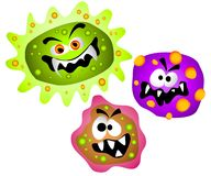 Germs Viruses Bacteria Clipart. A clip art cartoon illustration of nasty looking germs, viruses or bacteria with evil looking faces and colorful blobs and bumps Stock Photos