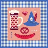手拉的慕尼黑啤酒节设计元素 向量例证