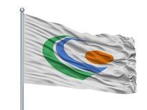 Gero City Flag On Flagpole, νομαρχιακό διαμέρισμα της Ιαπωνίας, Γκιφού, που απομονώνεται στο άσπρο υπόβαθρο Διανυσματική απεικόνιση