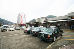 Taxi cars infront of Gero onsen train station. Gero onsen, Japan - Jan 29, 2018 : Taxi cars infront of Gero onsen train station waiting for traveller from Nagoya Royalty Free Stock Images
