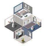 Gerobotiseerd Hotels Isometrisch Binnenland stock illustratie