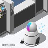 Gerobotiseerde Hotels Isometrische Achtergrond vector illustratie