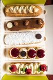 Geroepen selectie van Frans gebakje eclairs Royalty-vrije Stock Afbeelding