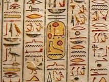 Geroglifici dalla valle dei re, Tebe Luxor, Egitto fotografie stock