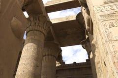 Geroglifici e disegni egiziani sulle pareti e sulle colonne Lingua egiziana, la vita dei antichi e la gente in geroglifico Immagine Stock