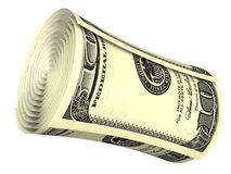 Gerold geïsoleerde dollarbankbiljet Royalty-vrije Stock Afbeeldingen