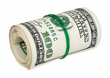 Gerold geld dat op wit wordt geïsoleerdn royalty-vrije stock afbeelding