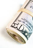 Gerold Gestreept Pakje Contante geld van het Vijftig Dollar Rekeningen het Amerikaanse Geld stock afbeelding