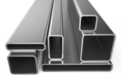 Gerold metaal, assortiment van vierkante pijpen Stock Afbeeldingen