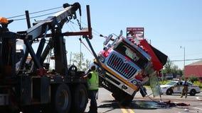 Gerold over firetruck stock video
